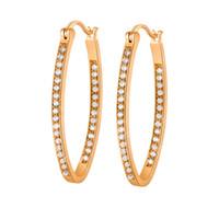 Orecchini delle donne orecchini di fascia alta 18 carati in oro giallo placcato oro cz grandi orecchini cerchi per le donne per il matrimonio del partito