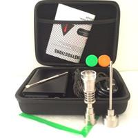 Günstige E Quarz Nagel Elektrische Tupfen Nagel Box Kit Ti Quarz Nagel Carb Kappe 14 18 MM Männlich Temperaturregler Rig glas Bongs