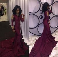 Nouvelle conception de style arabe manches longues à volants sirène robes de soirée Bourgogne dos nu en mousseline de soie élégante robe de soirée fermeture éclair pas cher sexy