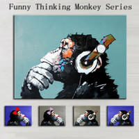 10 pcs Funny Thinking Monkey Series, Pure Hand Painted Modern...