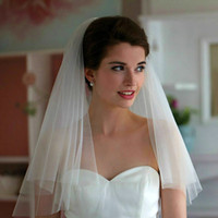 Высококачественные свадебные завесы с вырезанным краем длиной локоть два слоя тюль сетка белый / слоновая слоновая часть элегантные красоты свадьба свадьба # VL002