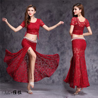 Lace Bellydance Costume 2017 New Model Hot Sale Women Belly Dance Suits Top&skirt&Waist Chain Performance Wear Skirt costume