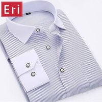 Camicia degli uomini di modo all'ingrosso a righe a maniche lunghe in cotone classico vestito da affari formale camicie Abbigliamento sociale Chemise Homme X098