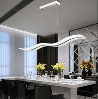 38W Moderno colgante lámpara LED tira interior onda acrílico araña led cinturón iluminación flexible caída luz luz iluminación suspensión luces de suspensión