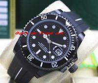Lüks Saatler 116610 Kauçuk Bilezik Kaplama Seramik Çerçeve Siyah Kadran 40mm Mekanik Erkekler Saatler Yeni Varış