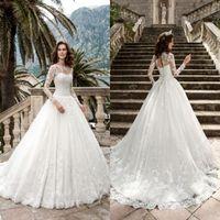 Manches longues en dentelle robes de mariée robe de bal bijou cou Appliques robes de mariée mariage avec lacet retour Vesrtidos