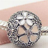 2017 lente 925 sterling zilveren poëtische bloemen clip charme kraal met roze email en heldere CZ past Europese pandora sieraden armbanden