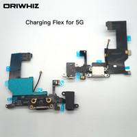 Voor iPhone 5 5G 5C 5S USB-dock oplader opladen hoofdtelefoon audio poort flex kabel vervanging onderdeel witte zwarte kleur kan order