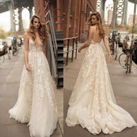 Berta 2017 Beach Wedding Dresses Sexy Spaghetti Plunging Nec...