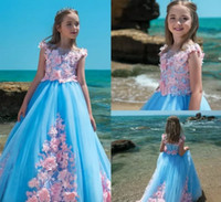 Pretty Flower Girl Dresses tul azul para Pink Appliqued Princess Lace 2018 recién llegada Child birthday party dress
