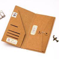 Venda por atacado - Pasta De Arquivo De Suporte De Cartão De Visita De Papel Kraft Notebook Traveler Preencher Pasta De Arquivo