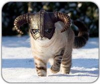 Cat Dragonborn Fluffy Animal Majestic Nordic Snow Mouse Pad Mouse Mat