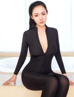 ملابس داخلية مثيرة لينة مرنة ارتداءها النساء المنشعب مفتوحة طويلة الأكمام بذلة شفافة ضئيلة رومبير catsuit الغريبة