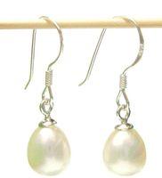 10 أزواج / وحدة أزياء بيضاء لؤلؤة أقراط الفضة هوك استرخى الثريا للهدايا الحرفية مجوهرات القرط c0