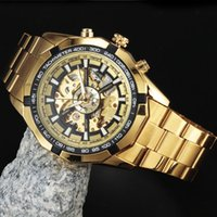Winner Watches Men Skeleton Automatic Mechanical Watch gold ...