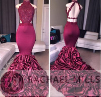 2019 New Burgundy Mermaid High Neck Evening Dresses Backless...