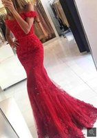 Robe De Soiree Mermaid red Prom Dresses appliques formal Cel...