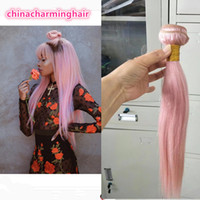 Brazilian Straight Hair Weaves Double Wefts 100g pc Pink Col...