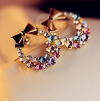 New Fashion Imitation Colorful Rhinestone Bow Earrings Vinta...