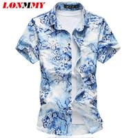 All'ingrosso TAGLIA LONMMY PLUS M-7XL floreale mens camicia di seta cotone mercerizzato chemise homme fiori della camicia da uomo a maniche corte camicie Mens Dress