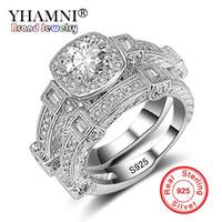 YHAMNI Modeschmuck Original Solide 925 Silber 2 STÜCKE Ring Set für Frauen Micro Inlay Kubikdiamant Band Hochzeit Ringe Geschenk KR235