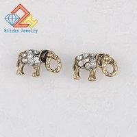 سحر لطيف الفيل الحيوان أقراط البرونزية القديمة الفاخرة الزفاف مجوهرات رومانسية الأم هدية للمرأة