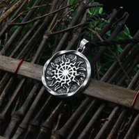 Al por mayor-1pcs Rueda del sol negro Sun Kolovrat eslavo amuleto colgante norse símbolo oculto colgante germánico hombres collar