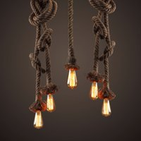 American Style Vintage Rope Ceiling Pan Pendant Lights Retro...