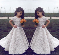 .Lace Flower Girl Dresses For Wedding Gioiello d'epoca a maniche corte Una linea Girls Pageant Dress Sweep Train Bambini Compleanno Prom Dress Formal Wea
