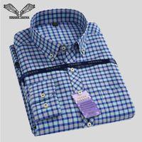 Toptan-Erkek Klasik Ekose Gömlek 2017 İlkbahar Yeni Turn-aşağı Yaka Slim Fit İş Erkekler Gömlekler Büyük Beden S-4XL N544