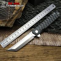 LCM66 Cuchillo plegable de titanio con rodamiento de bolas, D2 Cuchillo plegable táctico de caza de acero, Cuchillos de bolsillo al aire libre, Cuchillos de camping Little warrior