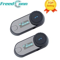 Atacado-2 pcs FreedConn TCOM-SC BT Bluetooth Capacete da motocicleta Intercom Interphone Headset com tela de LCD + rádio FM