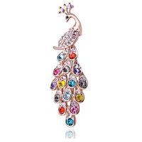 여성 웨딩 신부 꽃다발 브로치 쥬얼리에 대한 뜨거운 판매 공작 브로치 핀 빛나는 크리스탈 컬러 라인 스톤 브로치