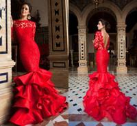 Seksi Kırmızı Mermaid Gelinlik Aplike Dantel Sheer Jewel Uzun Kollu Backless Abiye giyim Büyüleyici Custom Made Özel Durum Elbise