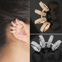 Damen der Frauen Kristall-Ohr-Stulpe-Klipp auf Ohrringe Modeschmuck Männer Unisex Kristall Strass kein Piercing Ohrclips Ohr Stulpe