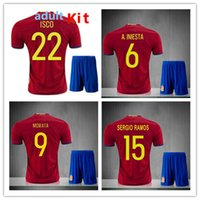 Thai quality Spain Euro cup kit jersey 2016 INIESTA RAMOS ho...