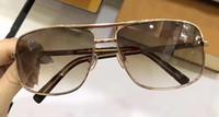 Классический Мужчины Урожай Attitude Золото Браун Солнцезащитные очки площади старинные рамки Модные солнцезащитные очки новый с коробкой