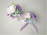 La novia novio flores ramilletes broches playa boda ramos damas de honor ramos muñeca flores fiesta de negocios broches de tres colores