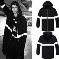 Cappotti lunghi per gli uomini Cappotti lunghi per gli uomini Autunno Inverno Cerniera con cappuccio Nero in pile Cappotti spessi caldi