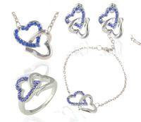 라인 석 사랑 심장 목걸이 귀걸이 세트 심장 디자인 크리스탈 소재 팔찌 반지 세트 절묘한 신부의 결혼식 쥬얼리 세트