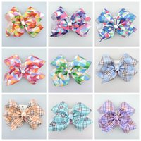 100pcs jojo 18cm gingham plaid Ribbon Cheer ABC hair Bows cl...