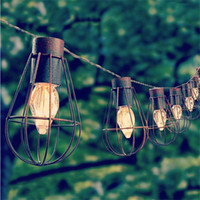 10led Solar Garden Light LED Solar Bulb Vintage Cage String ...