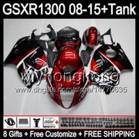 Glanzend Rood 8Gifts voor Suzuki Hayabusa GSXR1300 08 15 GSXR-1300 14MY21 GSXR 1300 GSX R1300 08 09 10 11 12 13 14 15 FUNLING TOP Red Black Kit