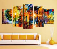 Enmarcado 5 pinturas al óleo pintada Panel moderna en la lona Calle paisaje paleta Pintura cuchillo Inicio pared del arte en LA9