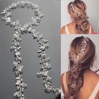 Idealway moda encanto plata aleación de cobre claro Crystal Rhinestone perla blanca Hairband para joyería de las mujeres
