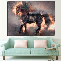 1 Pieces Blooming Fire Horse Wall Art Canvas Pictures For Li...