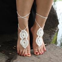 boda infinito Playa de ganchillo sandalias descalzas, zapatos Desnudos, Pie de la joyería, de boda, cordón del Victorian, atractivo, Yoga, Tobillera Chanclas