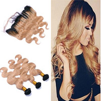 8A Body Wave Honey Blonde Hair With Lace Frontal Closure Brazilian Ombre 1B 27 Dark Root Ear To Ear Lace Frontal With Bundles