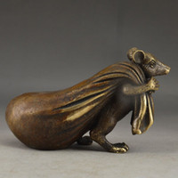 Laiton chinois Old Handwork Martelé Souris Or Vivid Statue Decor Collectable