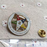 10шт на заказ Оптовой масонский Эмаль Pin Значки масонство Pin отворот Past Матрона Орден Золотого тон Восточной звезда броши